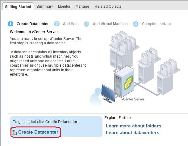 vcenter server create datacenter