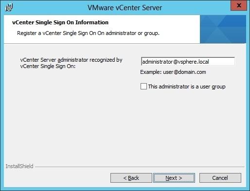 vcenter server installation administrative user