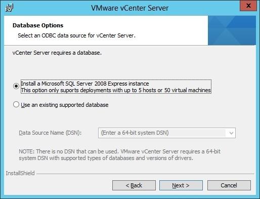 vcenter server installation database