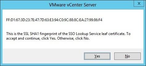 vcenter server installation fingerprint