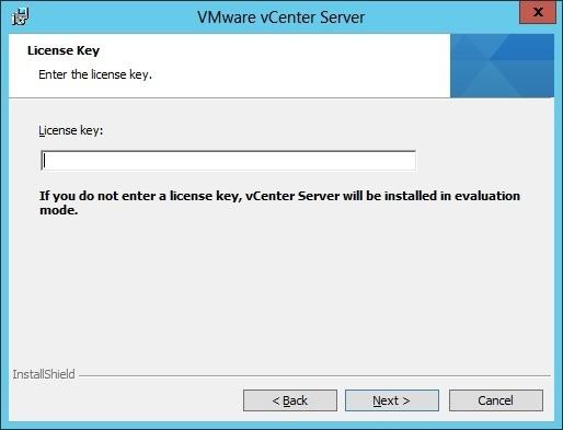 vcenter server installation license