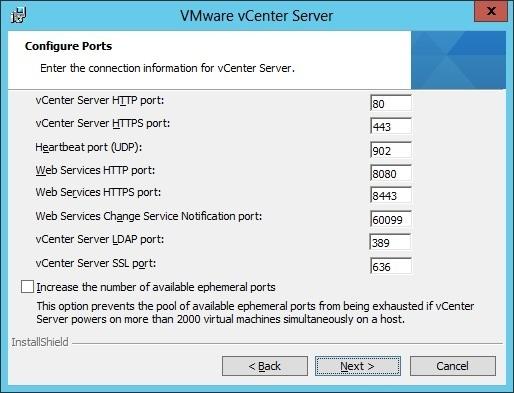 vcenter server installation ports