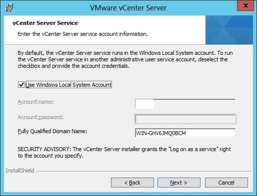 vcenter server installation service account