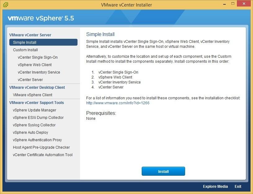 vcenter server simple install