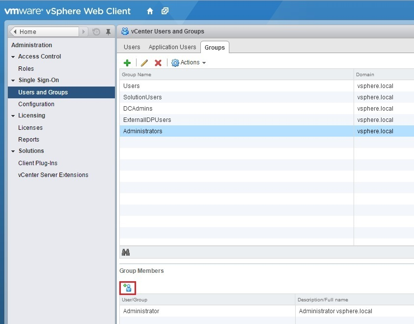vcenter server sso active directory groups add member