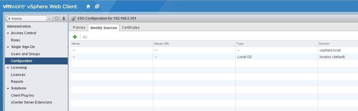 vcenter server sso identity sources