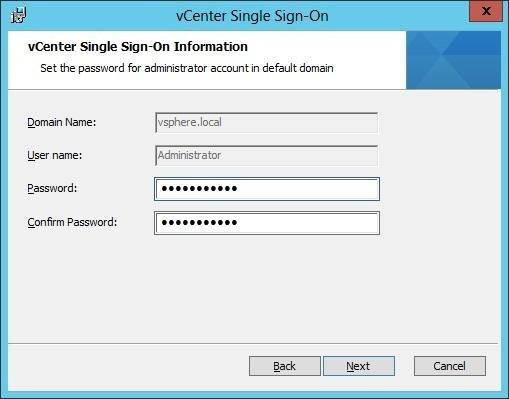 vcenter sso custom installation administrator password