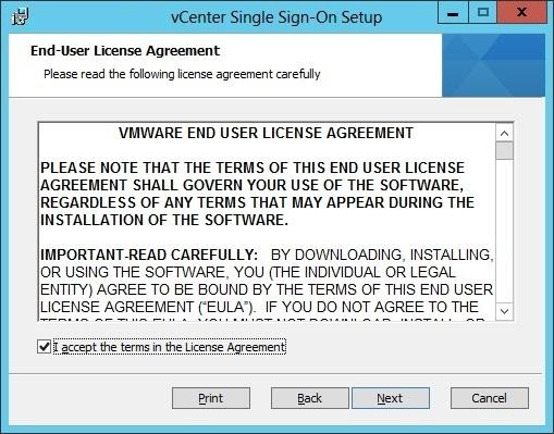 vcenter sso custom installation license agreement