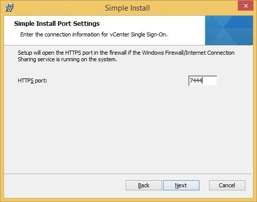 vcenter sso custom installation sso port