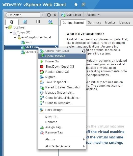 virtual machine open console