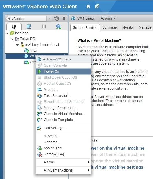 virtual machine power on