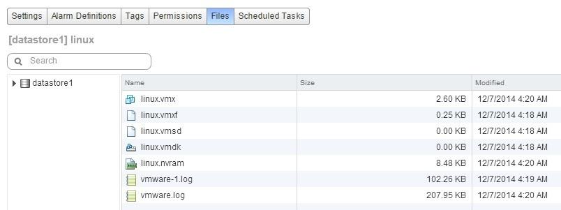 vmware datastore vm files