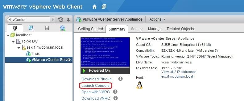 Virtual machine console in vCenter Server | VMware ESXi