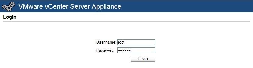 web interface vcenter server appliance