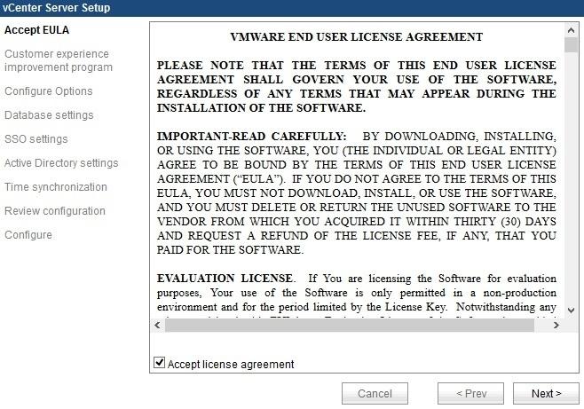 web interface vcenter server appliance eula