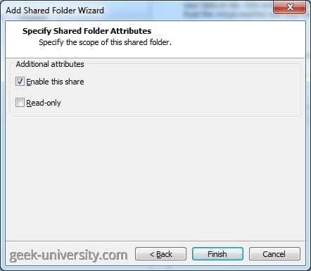 add shared folder attributes
