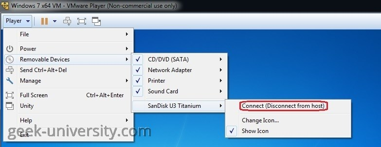Connect a USB device to a virtual machine | VMware Player