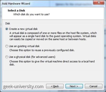 create hard disk