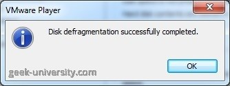 defragment virtual hard disk finish
