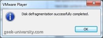 defragment virtual hard disk finish