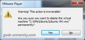 delete virtual machine dialog