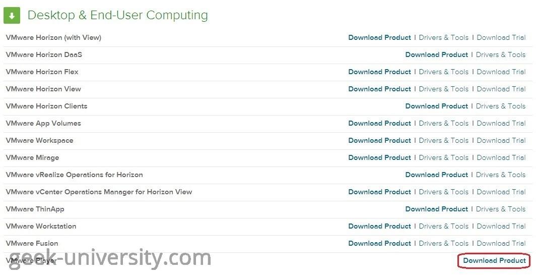 download vmware player