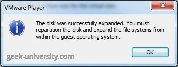 expand virtual hard disk finished