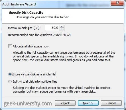 hard disk size