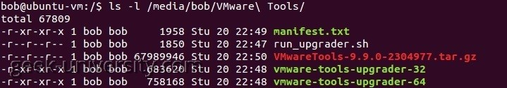 ls vmware tools directory