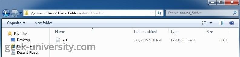 shared folder vmware host