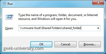 shared folder vmware host unc path