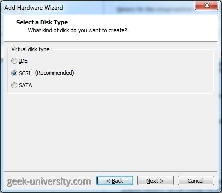 vm add existing hard disk type