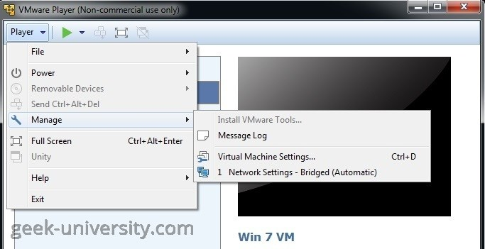 vm settings existing disk
