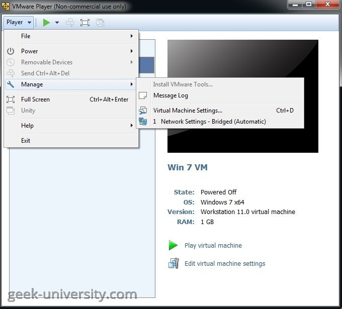 Change the memory allocation | VMware Player