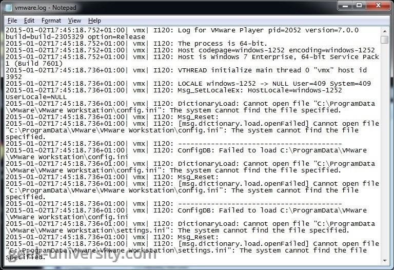 vmware log