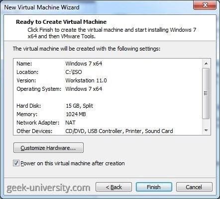 vmware player easy install finish