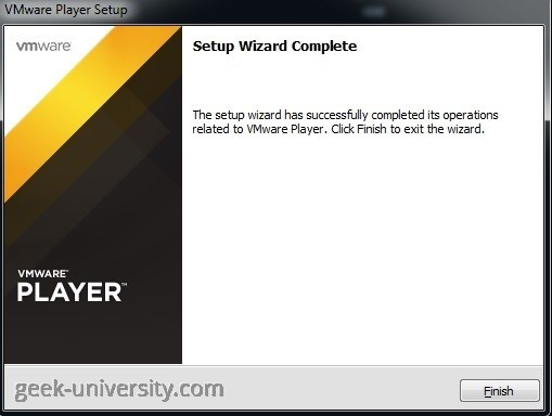 vmware player finish installation