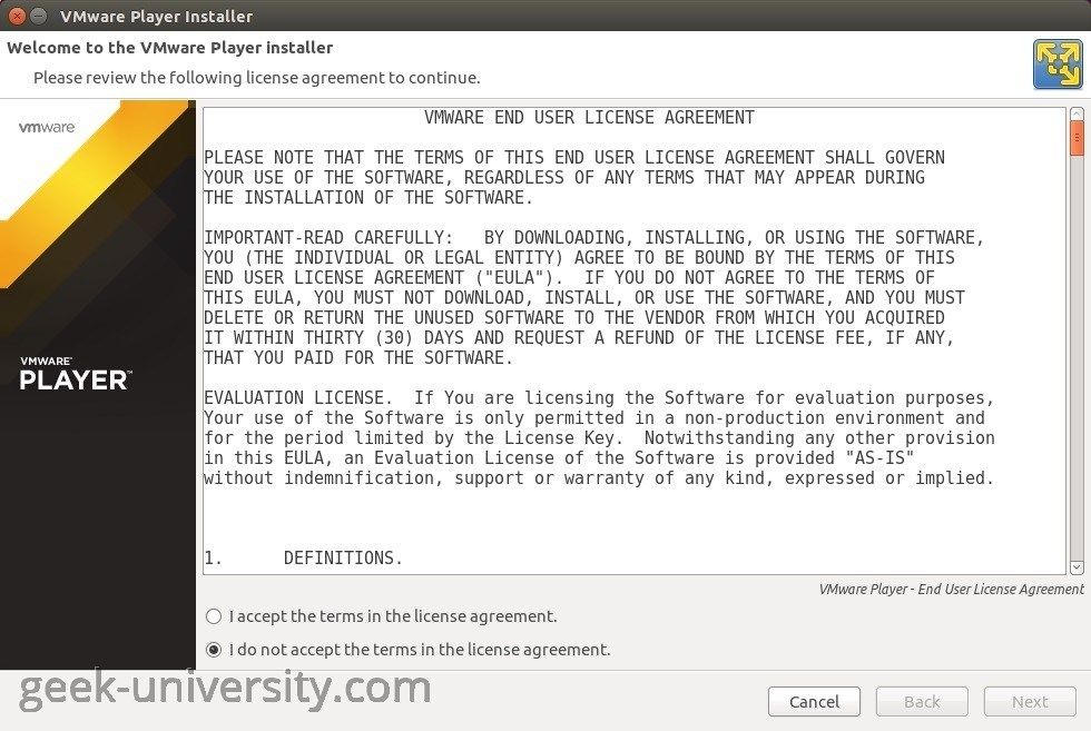 vmware player installation linux license