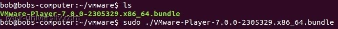 vmware player installation linux run