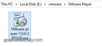 vmware player start installation