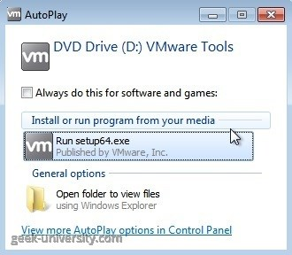 vmware tools windows autoplay