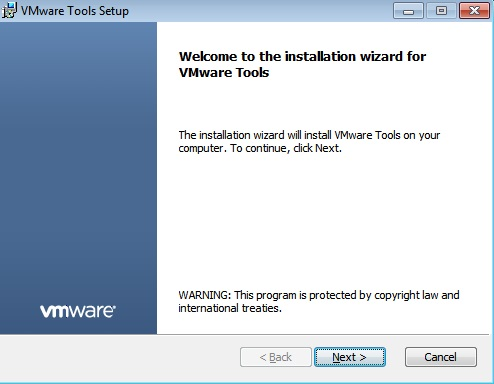 vmware tools windows installation welcome