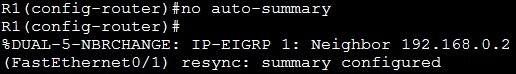 no auto summary command
