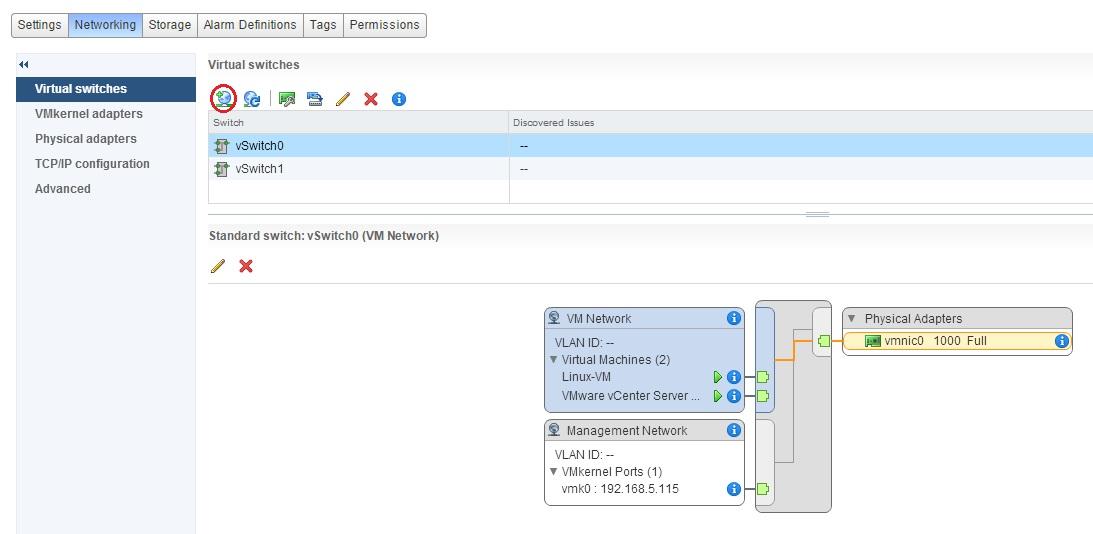 add host networking in esxi