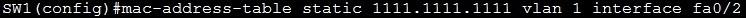 mac address table static command