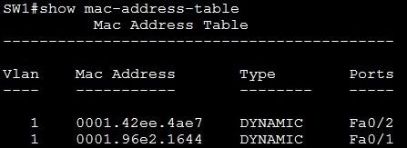 show mac address table command