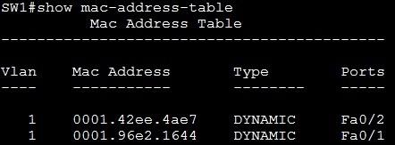 show mac address table forward