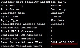 show port security interface command