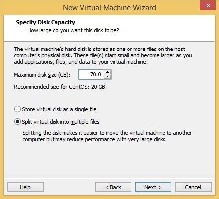 virtual machine hd size