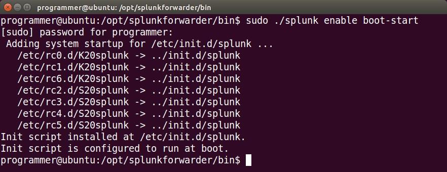 splunk enable boot start